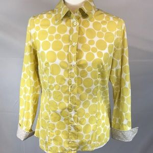 Boden- Yellow polka dot button up, size 6